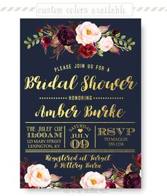 Navy Bridal Shower Invitation Dark and Chic Gold Foil Floral