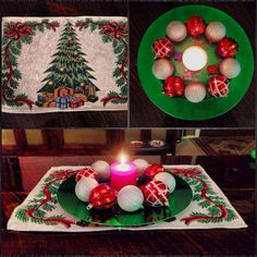 So proud of this holiday Dollar Store DIY! To make this, I got the following products-   Products from Dollar Tree: 1 red cinnamon scented candle 2 packs of ornaments  1 Christmas tree placemat  Products from Walmart: 1 Green Charger plate ($.98)  Put it all together and you have a beautiful, inexpensive Christmas decoration/centerpiece for $5!