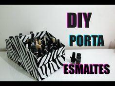 #DIY - Como fazer porta esmaltes de papelão com gavetas - YouTube