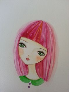 Portrait of a girl with pink hair, sweet and whimsical watercolor painting. Its perfect for a girl room.    Created on Canson watercolor peper size