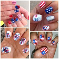 Here are some fun of july nail designs to do for the holiday! Find the american flag, fireworks, stars and more! Here are some fun of july nail designs to do for the holiday! Find the american flag, fireworks, stars and more! Hair And Nails, My Nails, American Flag Nails, Nail Art Designs, Firework Nails, Bag Sewing, Patriotic Nails, Nail Art Sticker, 4th Of July Nails