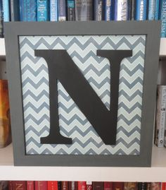 12 X 12 Wooden Gray Monogram Frame with Blue and White Chevron Print Decorative Background