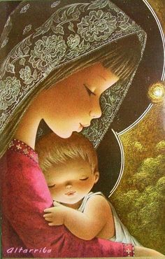 Madonna and Child Blessed Mother Mary, Blessed Virgin Mary, Catholic Art, Religious Art, Mother And Child Images, Illustrator, Mama Mary, Mary And Jesus, Holy Mary