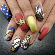Wonder woman Wonder woman nail art Nail art Nail designs Nail themes
