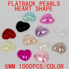 Free shipping 6mm 1000pcs imitation pearls heart shape flatback pearls perfect for  nail art diy cellphone laptop scrap booking