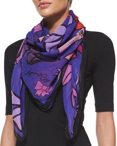 Bows Printed Chiffon Scarf, Purple/Orange by Anna Coroneo at Neiman Marcus.