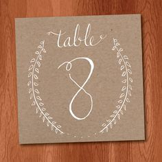Instant Download Table Numbers 1-25, Rustic Wedding Ideas, Laurel Branch Table Numbers with Kraft Paper Background, diy table numbers on Etsy, $10.00