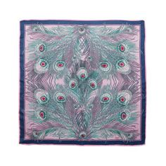Liberty of London -  Foulard, 100% soie rose, bleu marine 85 x 85 cm