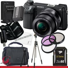 Sony Alpha NEX-6 Mirrorless Digital Camera with 16-50mm Zoom Lens (Black) 16GB Package 5 by Sony. $1015.99. Package Contents:  1- Sony Alpha NEX-6 Mirrorless Digital Camera with 16-50mm Zoom Lens (Black)  with all supplied accessories 1- 16GB SDHC Class 10 Memory Card 1- Rapid External Ac/Dc Charger Kit   1- USB Memory Card Reader  1- Rechargeable Lithium Ion Replacement Battery  1- Weather Resistant Carrying Case w/Strap  1- Pack of LCD Screen Protectors  1- Ca...