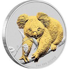 2010 Australian Koala Silver Coin Series 1oz Gilded Edition koala silver bullion coin, silver bullion   Perth mint silver coin