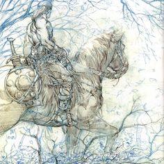 Conan.  Boceto espectacular de Conan para una de las mejores ilustraciones de BWS.