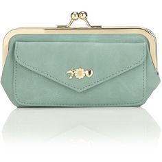 Accessorize Love Bird Clip Frame Purse (£5.21) ❤ liked on Polyvore featuring bags, handbags, clutches, purses, bolsas, blue, flower handbags, green clutches, flower purse and green handbags