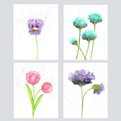 Watercolor flowers watercolor flower painting by ThimbleSparrow