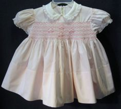 Vintage Handmade FELTMAN BROS. PINK SMOCKED BABY DRESS Short Puff Sleeves Lace