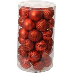 Holiday Time Christmas Ornaments 60mm Shatterproof Ornament, Set of 41, Red