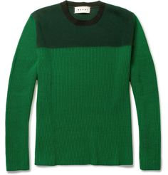MARNI  TWO-TONE WOOL AND CASHMERE-BLEND SWEATER