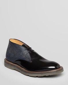 Paul Smith - Hunter Leather Chukka Boots (Black/Navy)