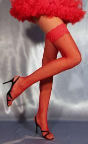 Red Fishnet Stockings with Back Seam