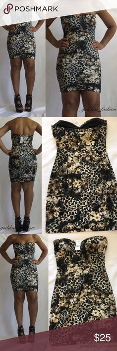 Temporarily Reduce Flower print strapless dress Tube dress 98%polyester, 3%spandex Mystic Dresses Strapless