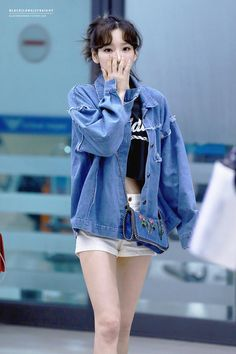 Designer Clothes, Shoes & Bags for Women Snsd Airport Fashion, Taeyeon Fashion, Kpop Fashion, Denim Fashion, Star Fashion, Girl Fashion, Fashion Outfits, Girls' Generation Tts, Casual Outfits