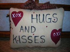 Primitive HUGS And KISSES Valentine Ornie by auntiemeowsprims, $8.99