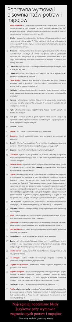 Najczęściej popełniane błędy  językowe przy wymowie  zagranicznych potraw i napojów – Nauczmy się i nie grzeszmy więcej Bullet Journal, Words, Horse