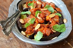 Eggplant With Tomato Compote, Toasted Almonds, & Fresh Mint...