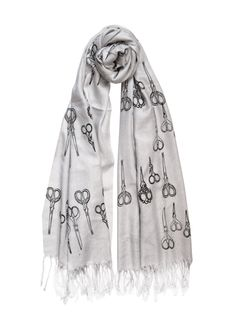 ANTIQUE SCISSOR SCARF GRAY  60% Viscose 40% Silk  Black on Gray. 30x80in  Snoozer Loser items are produced domestically and made in the USA.  Please Note: Our printed products may differ in variation of saturation and pattern due to the hand-print process- thus creating a one-of-a-kind product for our customers. ...MADE BY SNOOZER LOSER