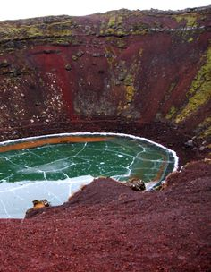 Kerið, a volcanic crater, in winter. Iceland.