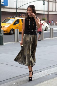 Jamie Chung on the street at New York Fashion Week. Photo: Emily…