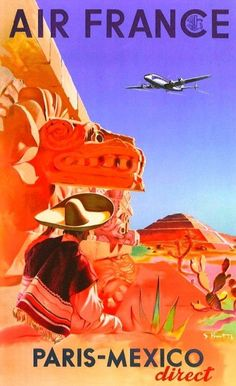 Air France Vintage Mexico Travel Poster