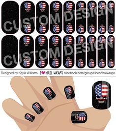 4th of July Patriotic Skull Jamberry NAS Nail Wrap Design. Why bother with nail art designs and polish when Jamberry nail wraps are so much easier? Get the pretty nails you've always wanted for a fraction of the cost of a salon visit. #iheartnailwraps #nailart #naildesigns #jamberry #jamberrynas #jamicure #nails #4thofjulynails #patrioticnails #flagnails #skullnails