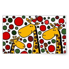 Giraffes in Santa Hats Christmas Art Rectangle Sticker #Christmas #giraffe #stickers And www.zazzle.com/inspirationrocks*