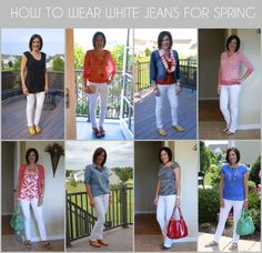 How to Wear White Jeans for Spring: There are soooo many ways to wear white jeans. Here are a few of my favorite white jeans outfits from past years. You can see that the possibilities are limitless. Jo Lynne Shane