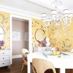 #Sunday #lunch #inspiration #design #interiordesign #interiors #furniture #textiles #wallpaper #yellow #warming #degournay