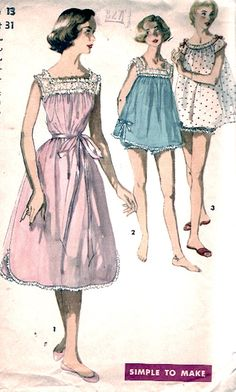 Mod babydoll Pajamas nightgowns bloomers lingerie by HeyChica