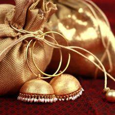 Kashmiri jhumkas-GOLD & Pearl JHUMKA EARRINGS-Large gold Jhumkas-Gold hoop earrings-Dome earrings-Indian Jewellery by Taneesi by taneesijewelry on Etsy Indian Accessories, Jewelry Accessories, Jewelry Design, Ruby Jewelry, Jewelery, Silver Jewelry, Silver Necklaces, Gold Jhumka Earrings, Indian Earrings