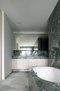 hullebusch green marble mathroom featuring verde st laurent & antique green #bathroom #marble #hellopeagreenspots