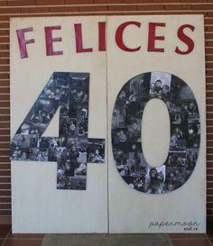 Photocall 40 cumpleaños, números gigantes con fotos. http://www.papermoonandco.com/