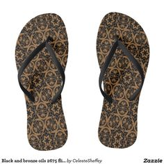 Black and bronze oils 2675 flip flops