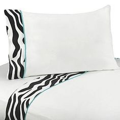 Sweet Jojo Designs Zebra Turquoise Collection Sheet Set, Turquoise Black And White