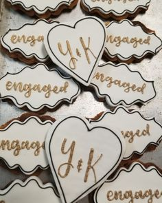 Engagement cookies  #carinaedolce www.carinaedolce.com www.facebook.com/carinaedolce Engagement Cookies, Cookie Favors, Sugar Cookies, Facebook, How To Make, Rolled Sugar Cookies