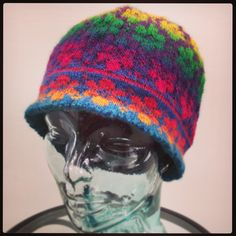 Britta Hat, By Johanne Landin (Knit by Cathie Botts) Knit Socks, Knitting Socks, Knitting Stitches, Knitted Hats, Knit Stranded, Fair Isle Knitting, Crochet For Beginners, Knits, Headbands
