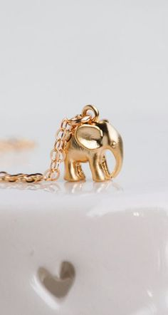 Tiny Gold Elephant Necklace Good Luck Charm 14K Gold Baby Elephant