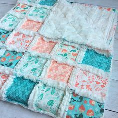 Rag Quilt Nautical Baby Baby Rag Quilt Crib Quilt by WatchMyDive ... : mermaid quilts - Adamdwight.com