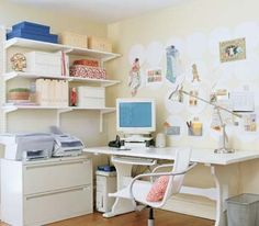 An organized home office By installing 20 twelve-inch-round magnetic boards over the desk—claiming the wall's valuable unutilized space—the room gains a graphic backdrop for hanging notes and magnet-backed mesh baskets. Hanging shelves provide a haven for books and magazines; cord bundlers and clips corral unruly electronics cords. The desk chair and wastepaper basket are upgraded to sleeker models
