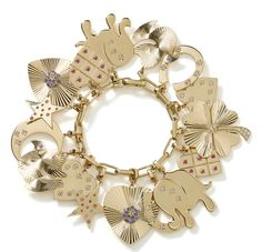 Bracelets breloques charms en or jaune Loquet London