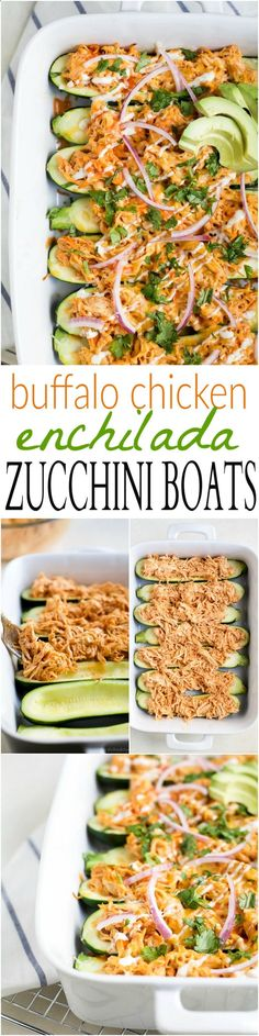 Buffalo Chicken Enchilada Zucchini Boats - tender zucchini stuffed with a creamy Buffalo Chicken mixture then drizzled with ranch. The perfect healthy way to eat Buffalo Chicken Dip without all the carbs! | joyfulhealthyeats... | gluten free recipes