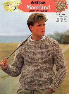 b991d9d49f0f2 Vintage mens chunky ribbed sweater knitting pattern PDF bulky rib jumper  crew neck 34-44
