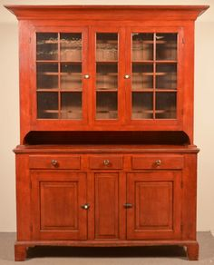 "Conestoga Auctions 3/25/17 lot 454.  Estimate: $8K - $12K. Realized: $17,700 (15,000).  Somerset County Federal Softwood Dutch Cupboard with Original Red Paint. Cove molded cornice, two 6 pane glazed doors with central 3 pane panel. Open pie shelf, molded top, 3 split dovetailed drawers, 2 lower raised panel doors, with central raised panel, molded base with bracket feet. 88-1/2""h. x 70""w. x 21""d. Condition: Very good with minor wear."